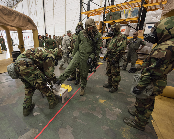 141st OSS hosts aircrew chemical decontamination exercise